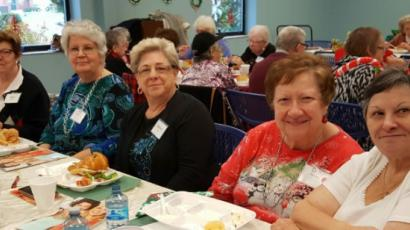 Friends Holiday Luncheon: (from left to right) Mary Roberts, Ann Bisignano, Marilyn Lago, Dottie Randazzo, and Joanne Nebenburgh